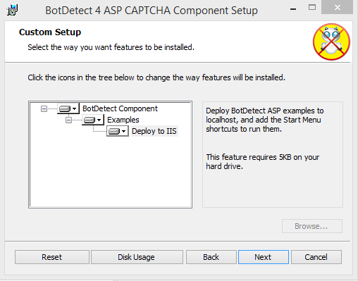 BotDetect ASP Setup feature selection