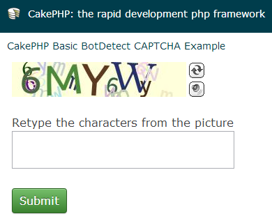 BotDetect CakePHP 2 CAPTCHA basic Captcha validation screenshot