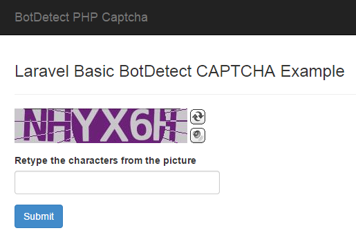 BotDetect Laravel 4.2 CAPTCHA basic Captcha validation screenshot