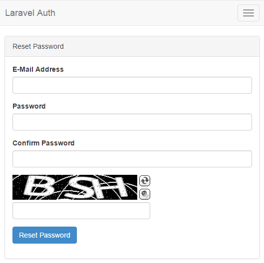 Laravel 5.1 Auth Reset Password BotDetect Captcha validation screenshot