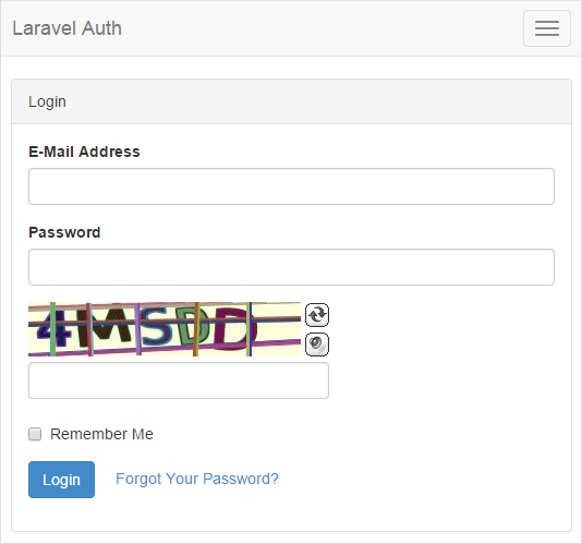 Laravel 5.1 Auth Login BotDetect Captcha validation screenshot