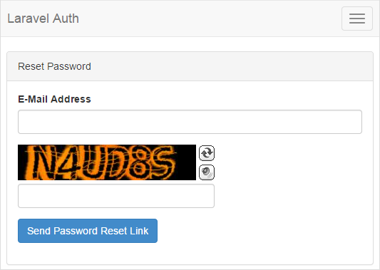 Laravel 5.1 Auth Send Password BotDetect Captcha validation screenshot