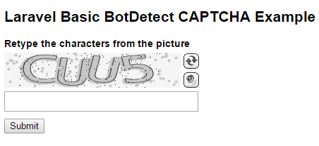 BotDetect Laravel 5.2 CAPTCHA basic Captcha validation screenshot