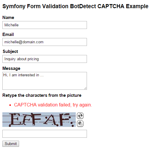 Symfony 4 Contact BotDetect Captcha validation screenshot