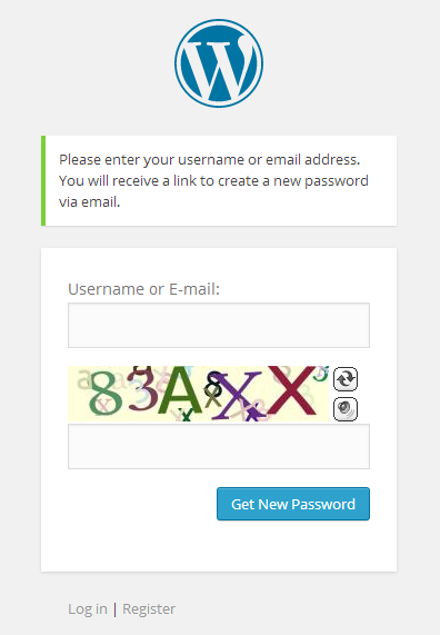 WordPress Lost Password Captcha
