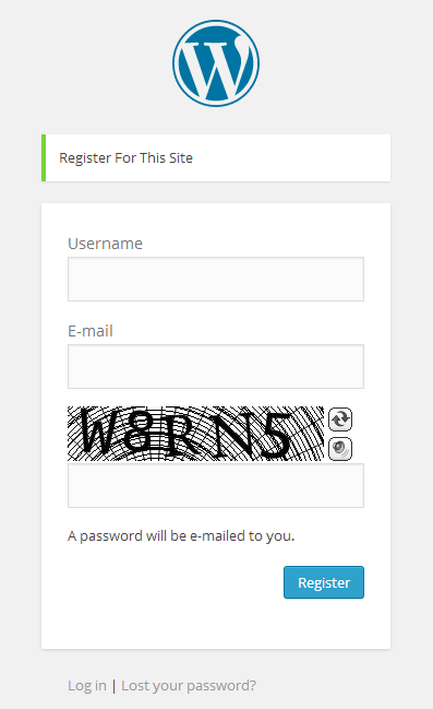 WordPress User Registration Captcha